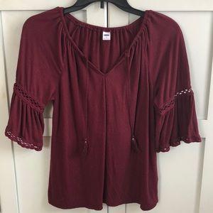 Old navy maroon half-sleeve shirt